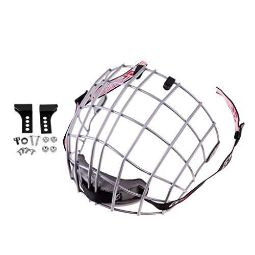 Prettyia A3 Steel Flat-Cut Ice Hockey Helmet Cage Mask Shield Wire Face Guard with Mounted Accessories - Silver, as described ()