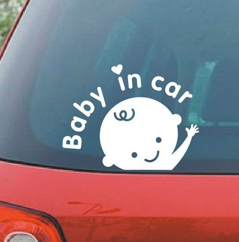 """BABY IN CAR Babay Safety Sign 6"""" (color: GLOSS WHITE) Vinyl Decal Window Sticker for Cars, Trucks, Windows, Walls, Laptops, and other stuff."""