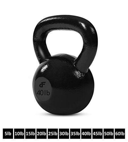 Day 1 Fitness Kettlebell Weights Cast Iron 40 Pounds - Ballistic Exercise, Core Strength, Functional Fitness, and Weight Training Set - Free Weight, Equipment, Accessories