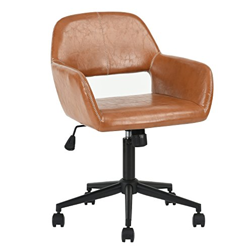 Aingoo Computer Office Desk Chair Swivel Accent Chair PU Leather Reception Armchair for Home Office,Brown (Leather Chair Square Times)