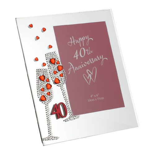 - Oaktree Gifts Flute Diamante 40th Anniversary Mirror Frame 4 x 6