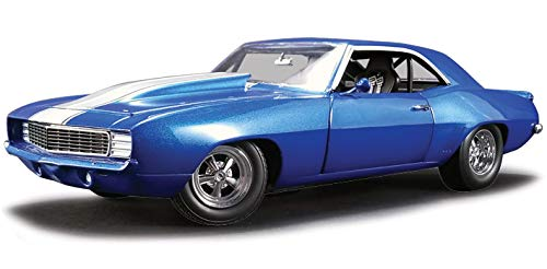 Car Blue Diecast Metallic (1969 Chevrolet Camaro 1320 Drag Kings Metallic Blue with White Stripe Limited Edition to 804 pieces Worldwide 1/18 Diecast Model Car by GMP 18876)