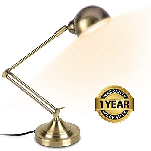 LED Desk Lamp - Brass Desk Lamps, 7W Energy-Saving, 350° Adjustable Arm, Eye-Caring, Touch Control, Vintage Antique Table Lamps, Dimmable Gold Desk Lamp for Office, Work, Reading, Study (Table Reading Lamps)