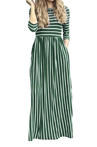 3 Leisure Stripes Pocketed Pattern3 Maxi Women Coolred Dress Sleeve Printing 4 Long Up6EROw0q