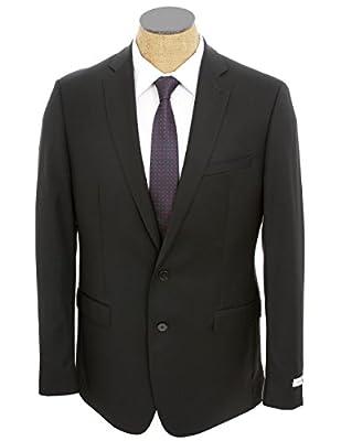 Calvin Klein Mens Solid Black Slim Fit Wool Suit