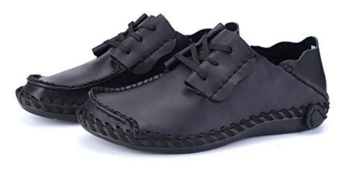 Car Driving Shinysky Casual Comfort Shoes Shoes Walking Flats Leather Black Mens Soft wIqcXFWq4H