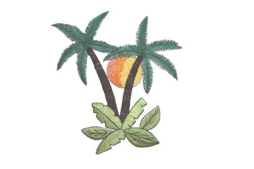 ID #5017 Tropical Palm Tree Scene with Sun - Iron On Palm Tree