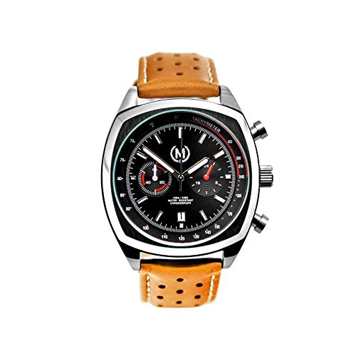 Marchand Classic Driver Chronograph Watch | Racing Chronograph Watch | Retro Watch | British Designed | Chronograph Quartz Movement | Tan Leather Watch Band | Watch for Men | 24 -