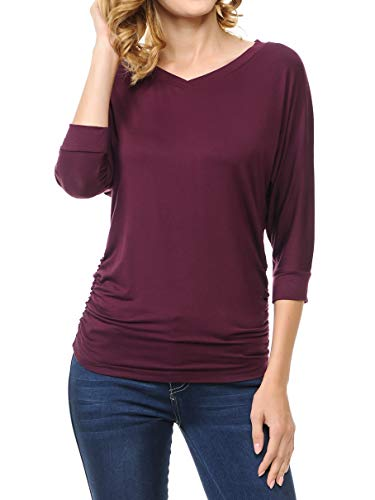 (Ephphatha Womens 3/4 Sleeve Drape Top with Side Shirring - Designed in USA (S-3XL) V Eggplant 3XL)