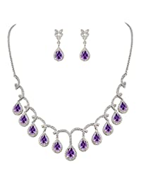 EVER FAITH CZ Birthstone Elegant Tear Drop Dangle Necklace Earrings Set Silver-Tone