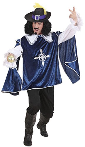 Blue Musketeer Costume Medium For Medieval Middle Ages Fancy Dress (Musketeers Fancy Dress)