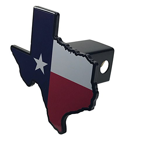(AMG Auto Emblems Premium State of Texas Flag (Texas Shaped) SOLID METAL Heavy Duty Hitch)