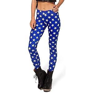 SlickBlue Women Girl Star Print High Waist Strech Leggings Soft Touch - Dark Blue,2XL - 3XL- 4XL