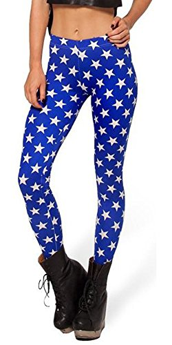 SlickBlue Women Star Print High Waist Strech Leggings - Dark Blue, M - L - XL