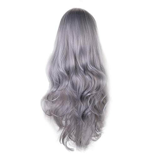 Weiweidain Fashion DIY Natural Wave Wigs for Women Middle Part Heat Resistant Cosplay -