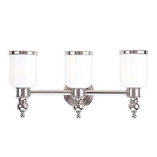 - Chatham 3-Light Vanity Light - Polished Nickel Finish with Opal Glossy Glass Shade