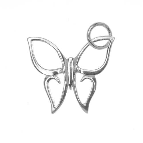 Beadaholique Sterling Silver Charm Elegant Open Butterfly 18mm X 16.5mm (1)