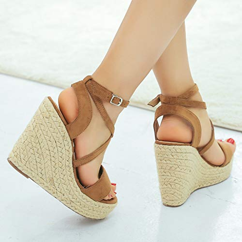 Talon Sandals Slip Haut Avec Belt Femmes Wedge Roman , Chaussures Pour Toe Mode Zyueer Femmes Brown D'été Beach Anti dgqEn