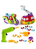 Build and Play Take-A-Part Toys Vehicle Set, Includes Power Tool Drill for Kids, 65 Take Apart Pieces, Create and Play Construction Vehicles with Tools Building Play Set For Boys Girls Toddlers