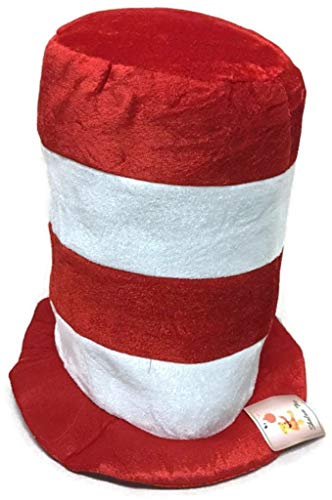 Dr. Seuss Hat, Cat in The Hat, Red and White Striped Hat Teens, Adults -