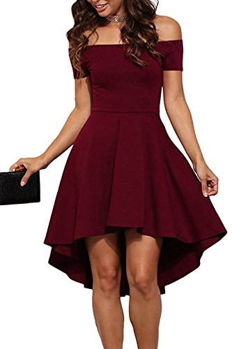 BoBoMo Women Off Shoulder Short Sleeve High Low Skater Swing Dress Party Prom Dress