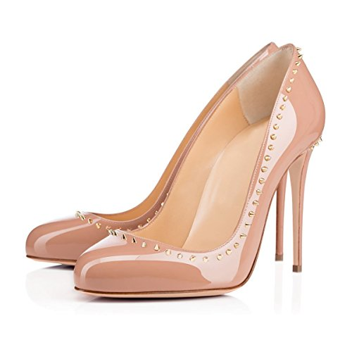 Red Fashion Toe Sole Slim JOOGO with Decoration Pumps High Round Heel Women's Rivet Nude 5tIqwf