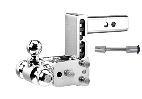 (B&W Hitches TS10048C Chrome Tow and Stow 5-5.5in Adjustable Tri Ball Mount Hitch and 5/8in Chrome Receiver Hitch Lock Bundle)