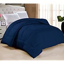 """Swift Home All-season Extra Soft Luxurious Classic Light-Warmth Goose Down-Alternative Comforter, Queen 90"""" x 90"""", Navy"""
