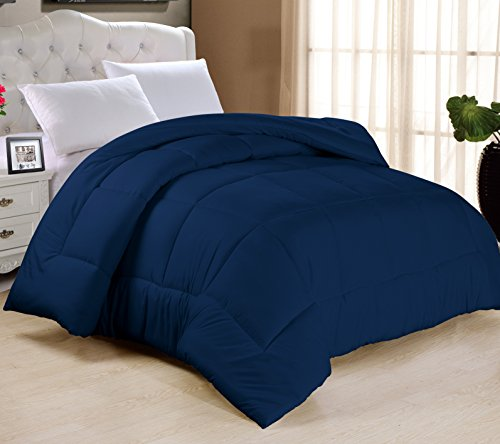 Swift Home All-Season Extra Soft Luxurious Classic Light-Warmth Goose Down-Alternative Comforter, Queen 90' x 90', Navy