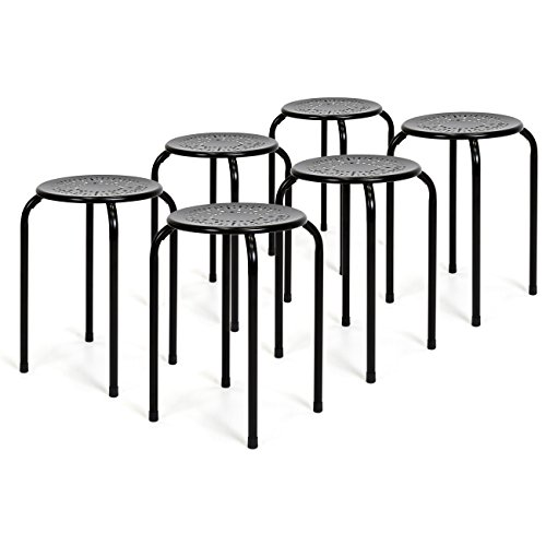 (Best Choice Products Set of 6 Backless Round Top Metal Stools)