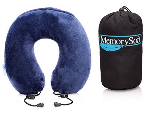 Premium Memory Foam Travel Pillow by MemorySoft - Lite Version - Soft Memory Foam Neck Pillow Includes Handy Travel - Brandname Luxury