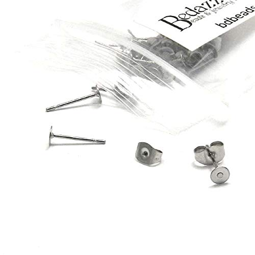 Steel Surgical Posts Ear (20 Hypo-Allergenic 304 Grade Stainless Surgical Steel Flat Pad Setting Earring Findings with Backs (4mm Pad))