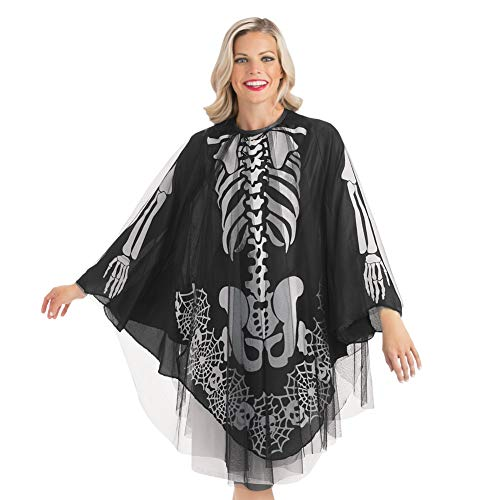Collections Etc Women's Halloween Skeleton Layered Poncho Pullover Costume, Sheer Mesh Underside, Easy to Wear, Black, One Size Fits All