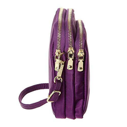 Purse Phone Bags Women MINICAT Nylon Purple For Wallet Cell Small Smartphone Crossbody UZqqwYXg