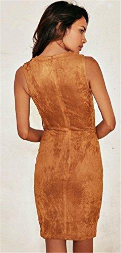 Moda Sin Mangas Cordón Cordones Lazada Delantera Cuello en V Cremallera Espalda Minivestido Mini de Corte Bodycon de Tubo Ajustado Lápiz Dress Vestido Camel