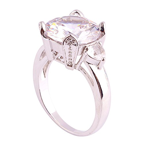 Empsoul 925 Sterling Silver Natural Novelty Filled Round & Pear Cut White CZ Wedding Ring