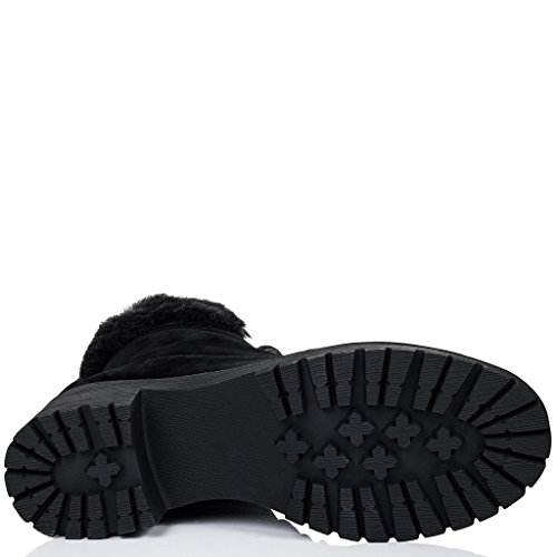 SPYLOVEBUY DEVILS Mujer Cordone Tacón Bloque Botes Bajas Zapatos Negro - Gamuza Sintética