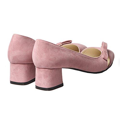 Enmayer Femmes Pu Matériel Imprimé Bowtie Sandales Slip-on Nubuck Bout Pointu Dames Pompes Rose