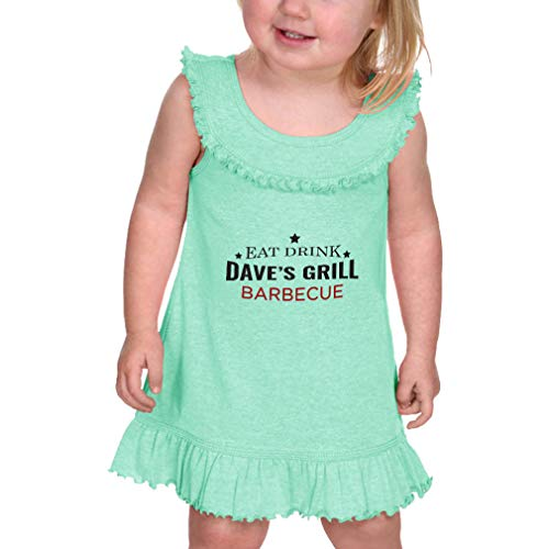Price comparison product image Personalized Custom Eat Drink Grill Barbecue Taped Neck Cotton / Polyester Infant Girl Ruffle Tank Dress - Ice Green,  6 Months