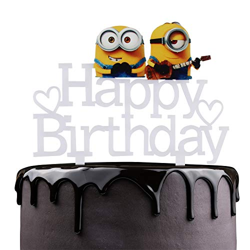 Happy Birthday Cake Topper - Minions Despicable Me Theme Party Cake Décor - Celebrate Baby Shower Child Birthday Party Supplies - Adorable Mirrored White Acrylic Decorations]()