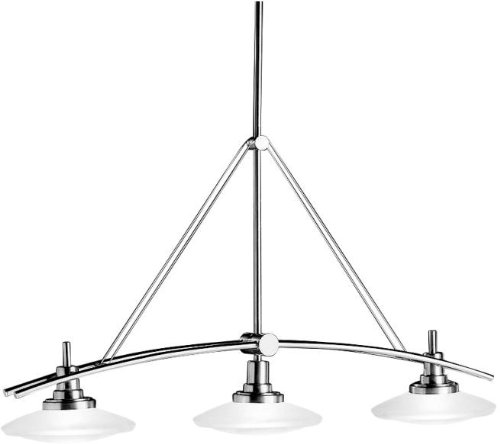 Kichler 2955NI Structures Linear Chandelier 3-Light Halogen, Brushed - Island Kitchen Nickel Kichler