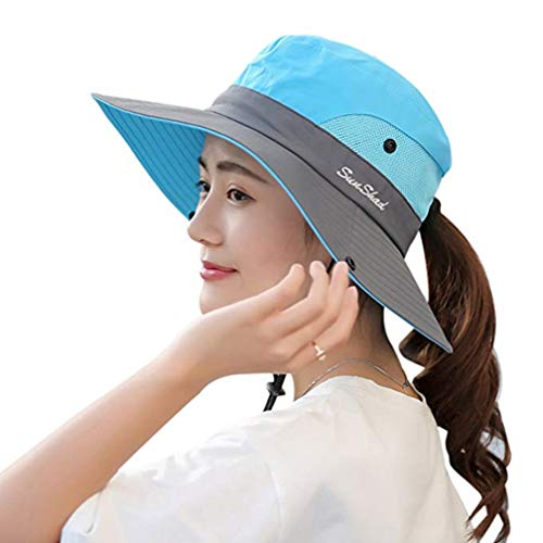 Duakrs Premium Outdoor UPF 50+ Wide Brim Sun Hat Waterproof UV Protection Bucket Mesh Boonie Hat Adjustable Fishing Cap for Men Women and Children (Sky Blue - 1)