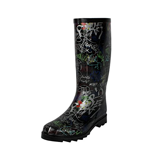 Graffiti Mid Waterproof Calf Blvd Rubber West Rainboots Women's nZEwRtnqY