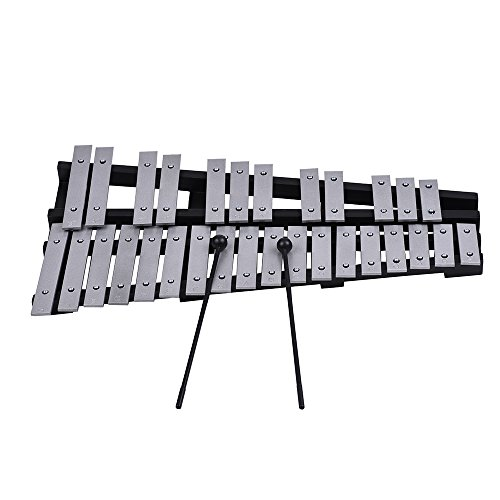 ammoon 30 Note Glockenspiel Xylophone Wooden Frame Percussion Musical Instrument from ammoon