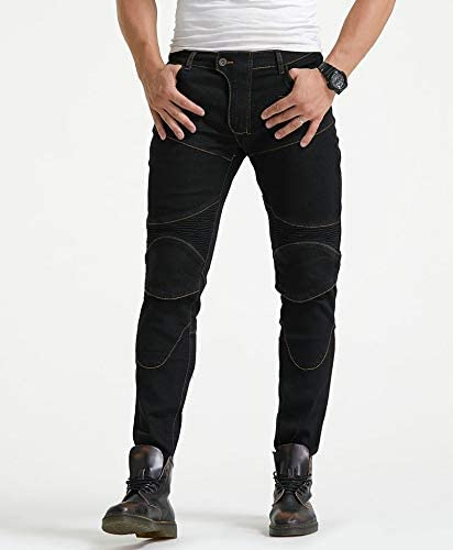 de protecci/ón de Cuatro Piezas Pantalones Vaqueros de los Pantalones de Carreras Profesionales Pantalones Moto Pantalones de la Motocicleta Ajuste Fino CHERSH Montar Estiramiento cl/ásica