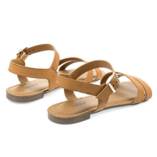 Kvinner Flat Sandal M Dobbel Troppen Foran Og Ankel Strap Tan