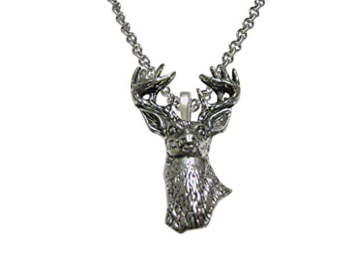 White Tailed Stag Deer Head Pendant Necklace