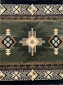(Concord Global Trading Southwest Native American Area Rug Sage Green Black Beige Design C318 (5 Feet 2 Inch X 7 Feet) )