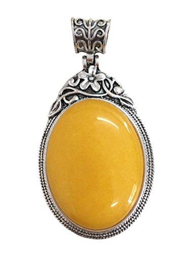 JCGJ Yellow Semi-Precious Gemstone, 1PCS Unisex Stone Natural Oval Pendant For Jewelry Making(1.53 2.39)