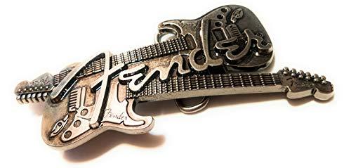 FENDER belt buckle DUAL GUITAR Antique silver color 5.15 inch SuperGifts - Guitar Belt Buckle